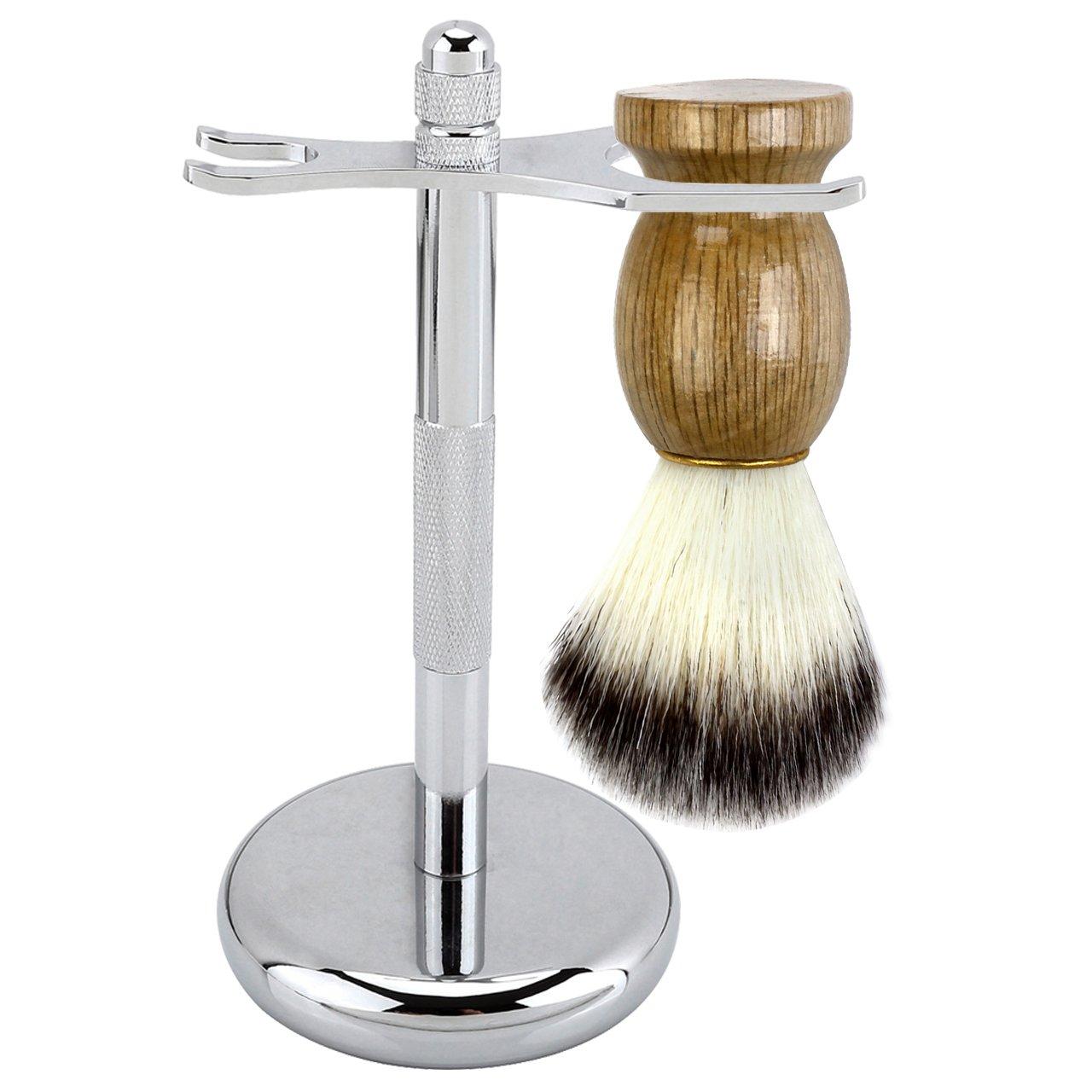 faleto 2en 1Kit de afeitar Afeitado con brocha de afeitar Afeitado (Maquinilla de Afeitar Razor Stand para hombres y brocha de afeitar–Aleación de aluminio y aleación de cinc, Plata
