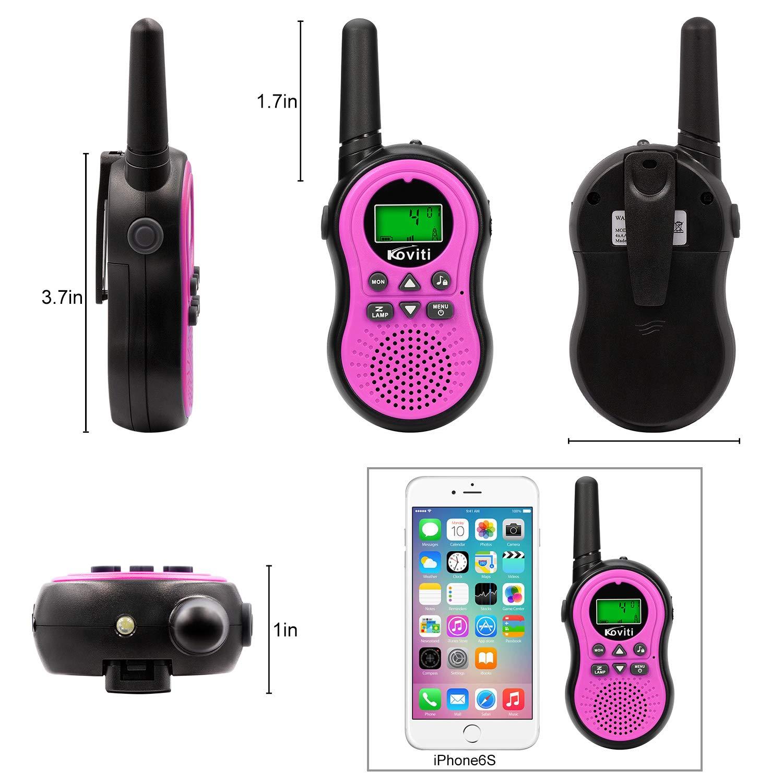 Koviti Kids Walkie Talkies 2 Way Radio 22 Channel Range Up to 3Miles UHF Walky Talkies Interphone Toy Gift for Kids (Pink,2 Pack) by Koviti (Image #4)