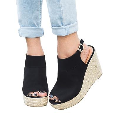 0298ffd9aa641 Amazon.com   Runcati Womens Plateform Espadrille Peep Toe Suede Ankle Strap  Buckle Slingback Sandals High Heels Pumps   Platforms & Wedges