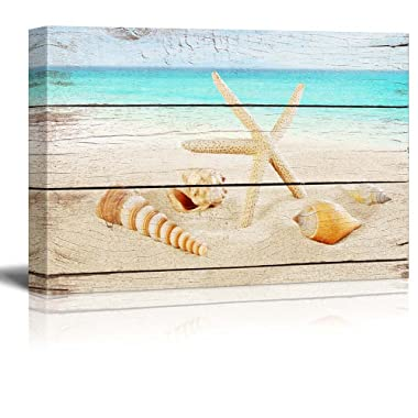 wall26 Canvas Prints Wall Art - Starfish and Seashells on The Beach with Vintage Wood Background - 12  x 18