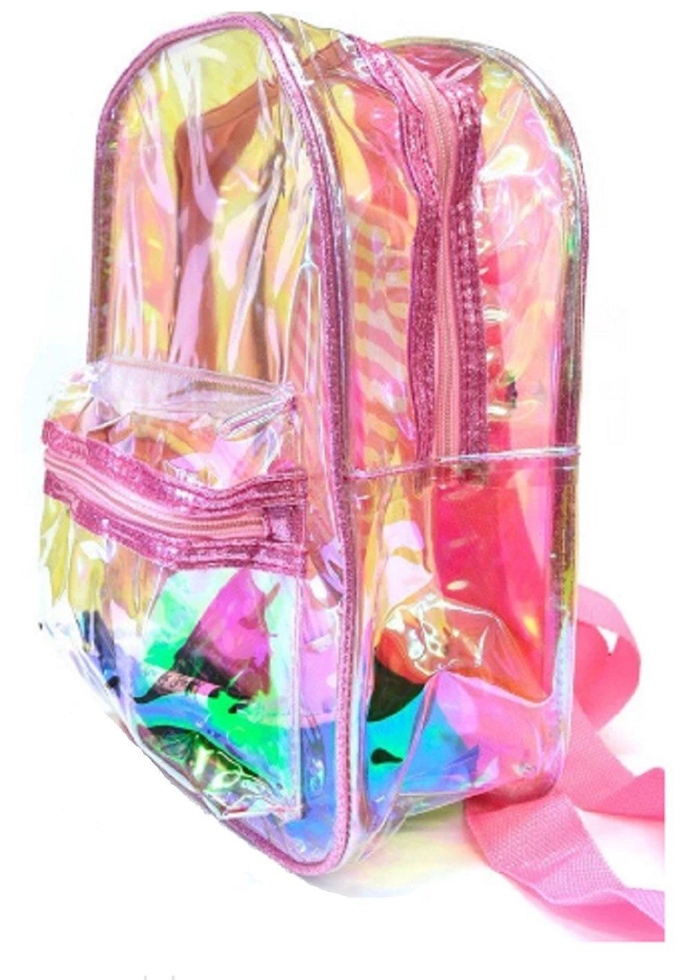 Womens Girls Teens Waterproof Mini School See Through Clear Backpack Bag (pink)