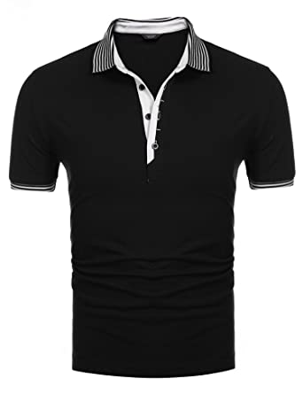 e54347d9a Coofandy Men's Short Sleeve Casual Striped Collar Slim Fit Polo Shirts,Black ,Small