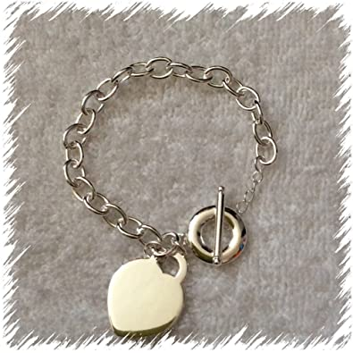 641966303 Heart Tiffany Style Bracelet, Heart Pendant on charm bracelet with T Bar  finish, arrives in a pretty gift bag making this the perfect Valentine Gift.