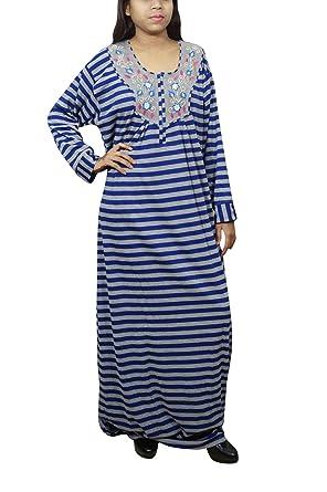 Indiatrendzs Women Nightdress Printed Woolen Blue Grey Maxi Dress L  Amazon. in  Clothing   Accessories 971a12927