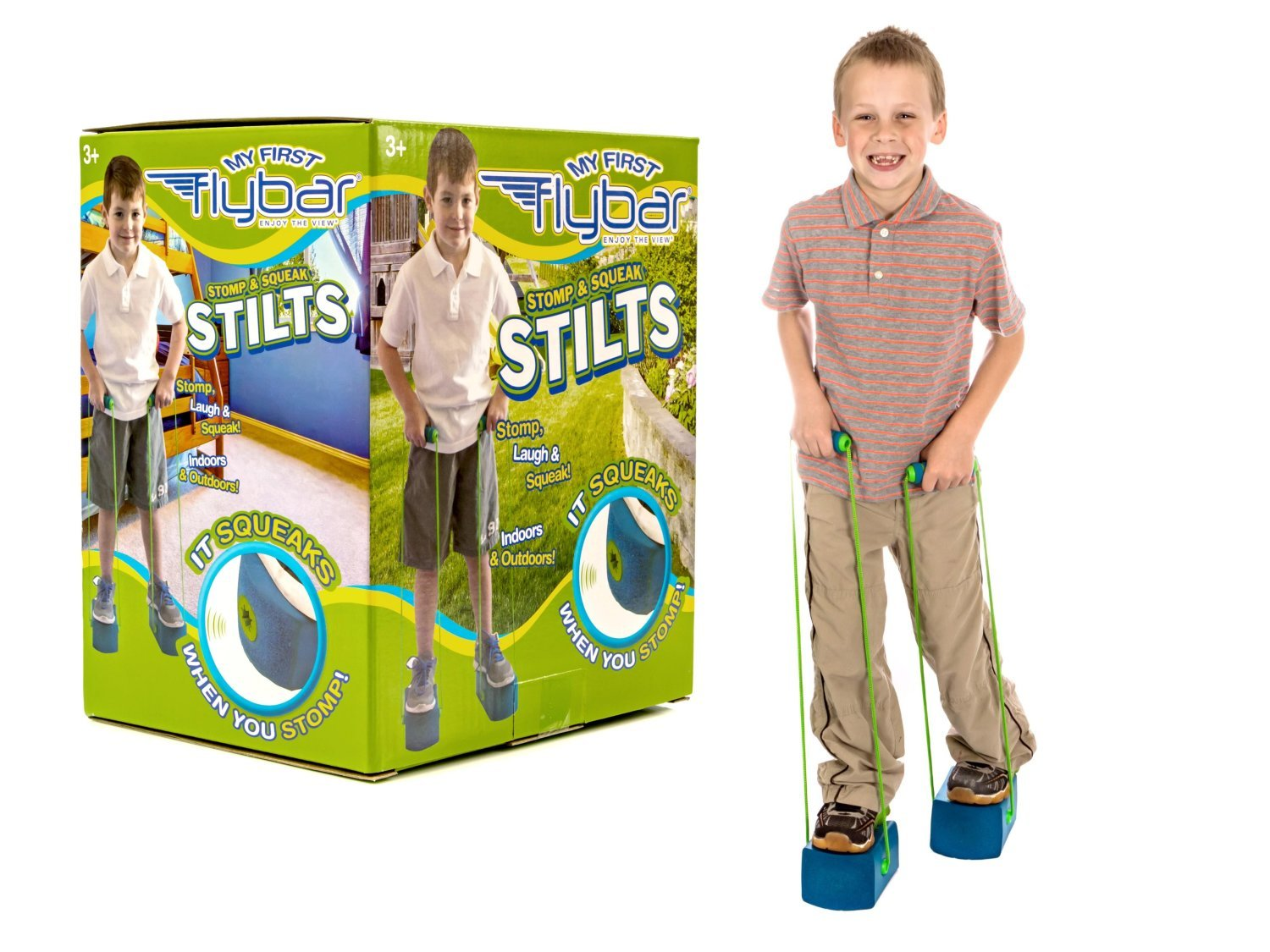 Flybar My First Kids Stilts for Ages 3 Up Soft and Safe Foam Pogo Steppers Squeak with Each Step – Foam Hand Grips with Sturdy Rope Handles