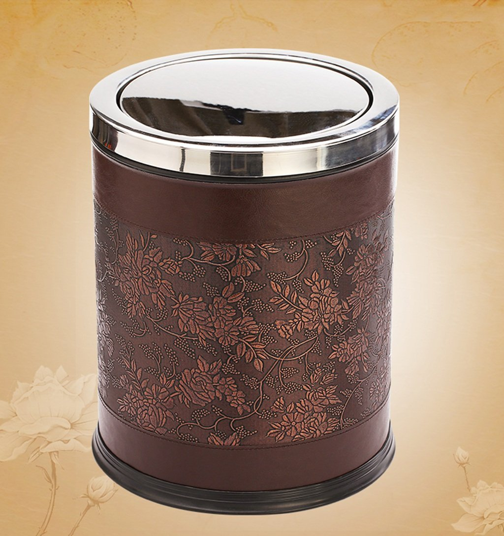 CSQ Stainless Steel Trash Can, Household Pu Trash Hotel Living Room Bedroom Bathroom With Flap Push Type Large Trash Can 10L (Color : D)