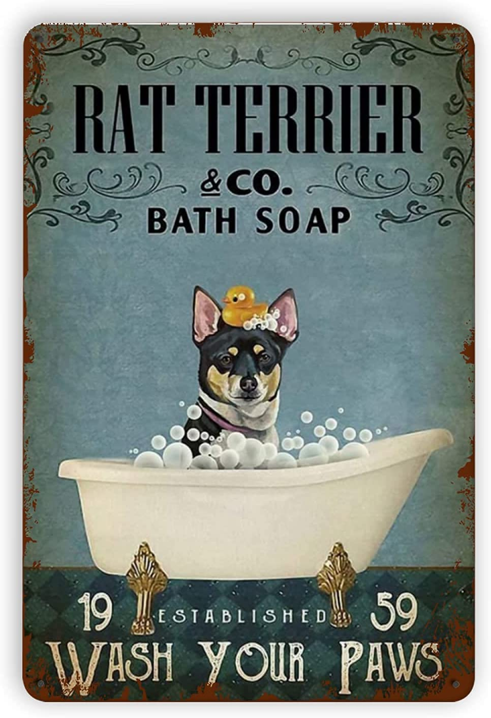 Wall Decor Dog Rat Terrier Bath Soap Metal Tin Signs Reproduction, Vintage Wall Decor Retro Art Tin Sign Funny Decorations for Home Bar Pub Cafe Farm Room Metal Plaque Classic Poster 12×16 Inch