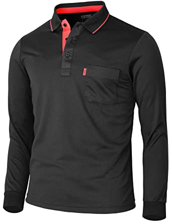 bbf284939 BCPOLO Men's polo shirt Long Sleeve Solid Polo Shirt Dri Fit T-Shirt-black
