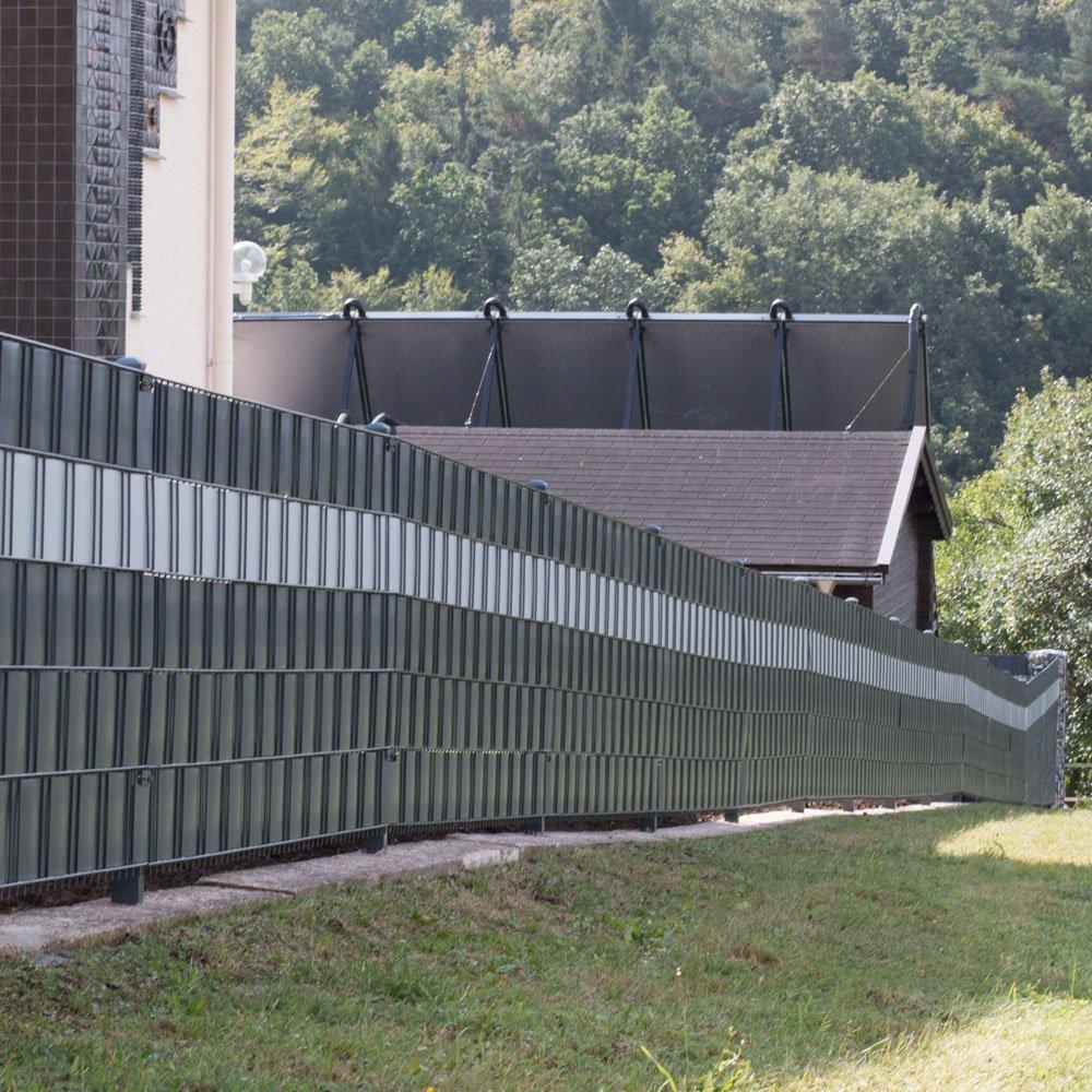 Amazon 10 Sichtschutzstreifen Anthrazit im Set Hart PVC