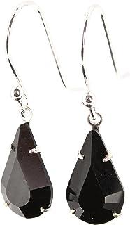 925 Sterling silver drop earrings made with teardrop Jet Black crystal from SWAROVSKI®.London gift Box. pewterhooter zzz8946