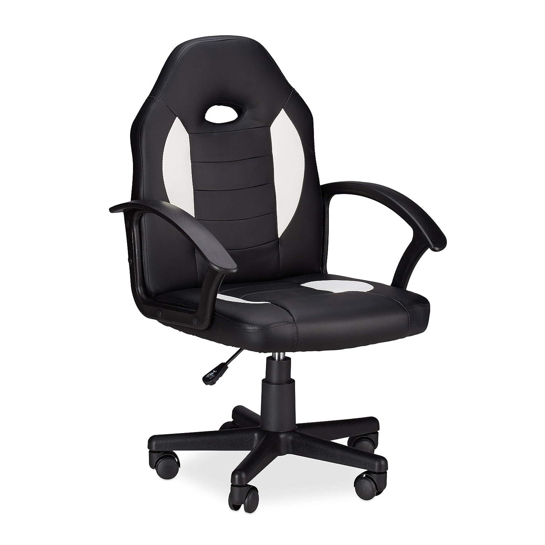 Relaxdays Gaming Stuhl XR7, 360° Drehstuhl für Gamer, höhenverstellbarer Bürostuhl bis 120 kg, Racer Optik, schwarz-weiß
