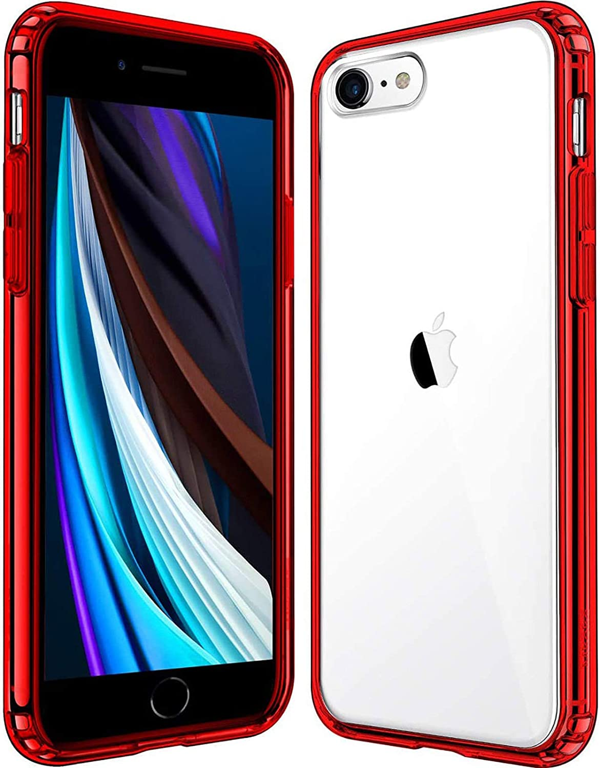 Mkeke Compatible with iPhone SE 2020 Case,Compatible with iPhone 8 Case,Compatible with iPhone 7 Case Clear Cases-Red