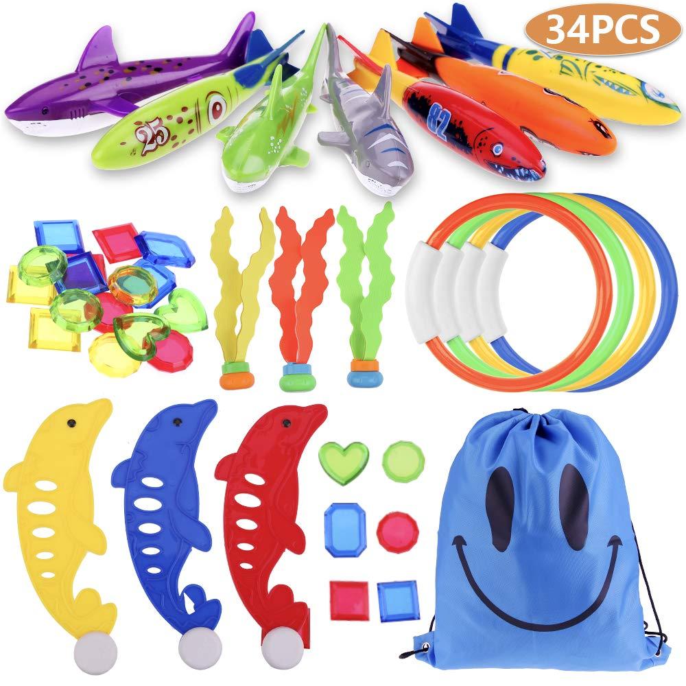 Faburo 34pcs Underwater Sinking Swimming Diving Pool Toy for Kids Summer Fun, Torpedo Bandits, Diving Rings, Aquatic Dive Balls, Diving Dolphin, Diving Shark Toys, Underwater Treasures and Storage Bag by Faburo