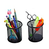 Elife 2 pcs Black Round Steel Mesh Style Pen Pencil Cup Desk Organizer Holder for Home Office (2 Round Mesh Pen Holder) by Elife