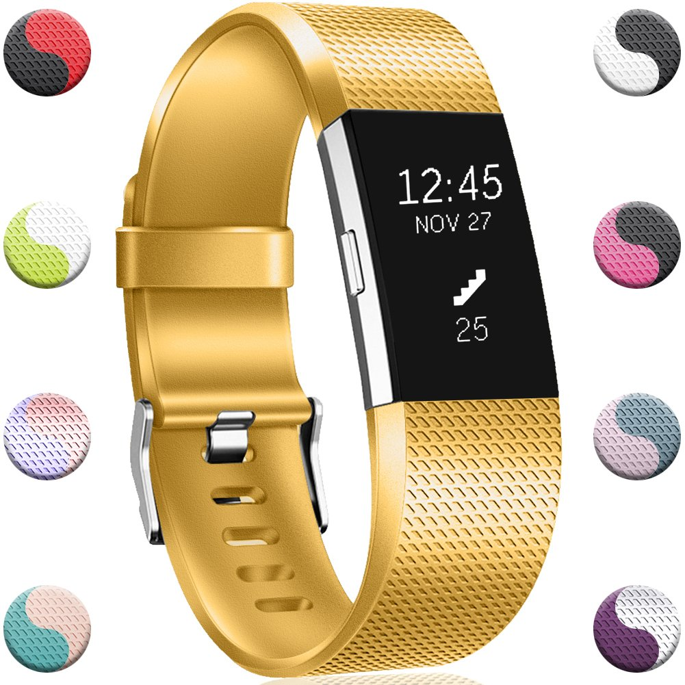 Geak Fitbit ALTAバンドとFitbit ALTA HRバンド、スポーツ用交換アクセサリーリストバンド安全腕時計バックル、S、Lサイズ、ブラックブルーレッドグレーピンクand Teal Small|Classic-Gold Classic-Gold Small B07C15J8M9