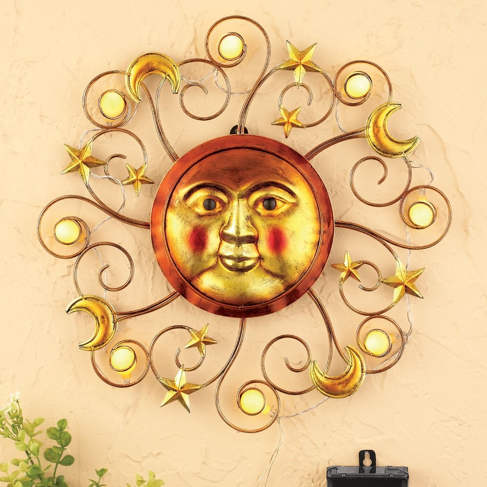 Amazon.com : Solar-powered Sun Wall Decor : Garden & Outdoor
