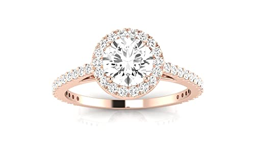 87d460aa64f9c 1.15 Carat tw 14K Rose Gold Classic Halo Style Pave Set Round Shape Diamond  Engagement Ring with a 3/4 Ct Forever Brilliant Round Moissanite Center