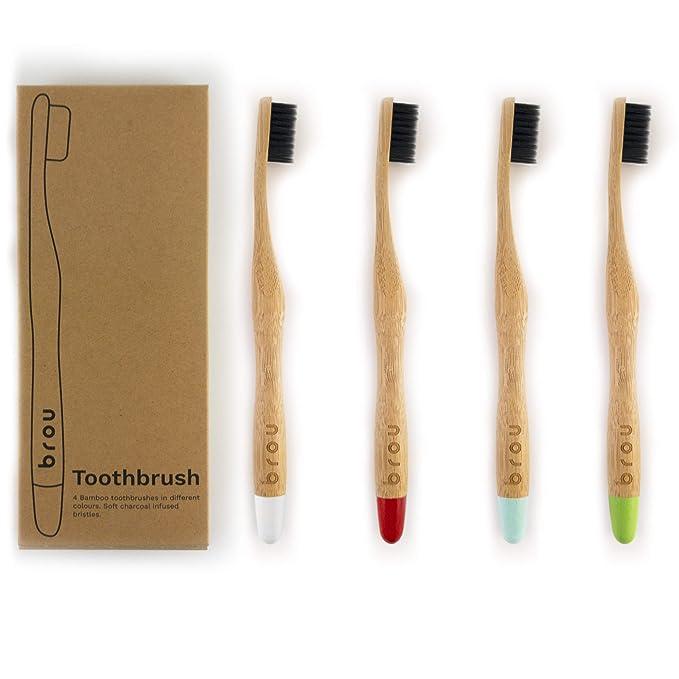 BROU | Cepillo de dientes de carbón de bambú premium biodegradable | libre de BPA | Ecológico | Vegano | (Multicolor, Paquete de 4)