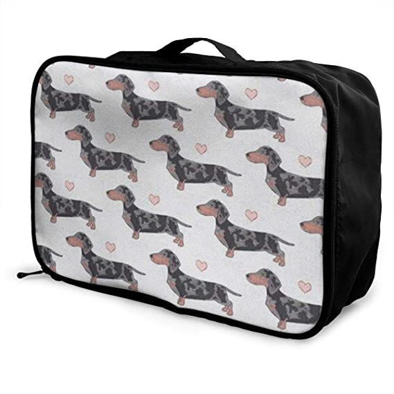 Portable Luggage Duffel Bag Dachshund Travel Bags Carry-on In Trolley Handle