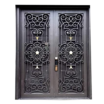 Wrought Iron Door Double Oper Albe Glass 72x96 Amazon Com