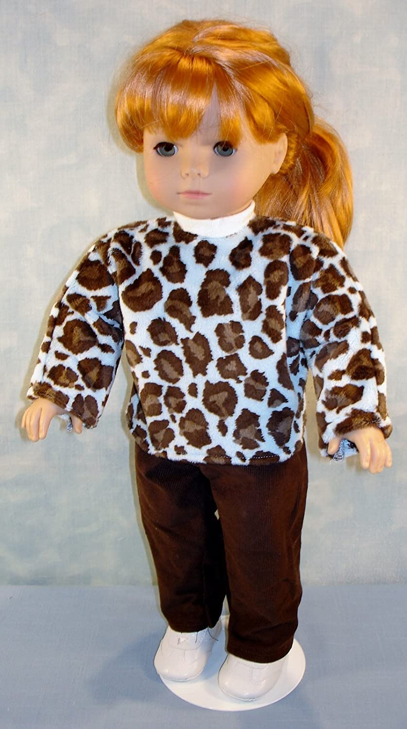 18 Inch Doll Clothes Minky Leopard Blue Pants Set handmade by Jane Ellen to fit 18 inch dolls