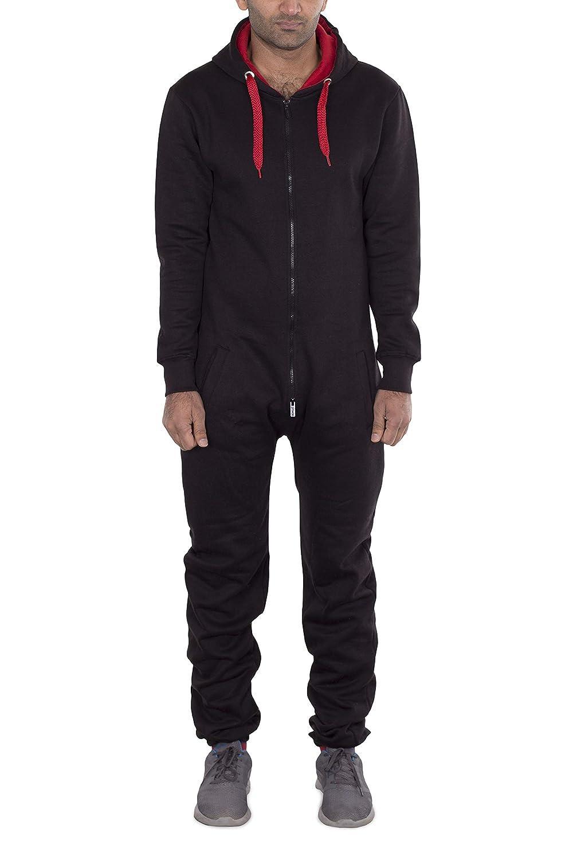 Noroze Mens Unisex Contrast String Fleece Onesie Jumpsuit