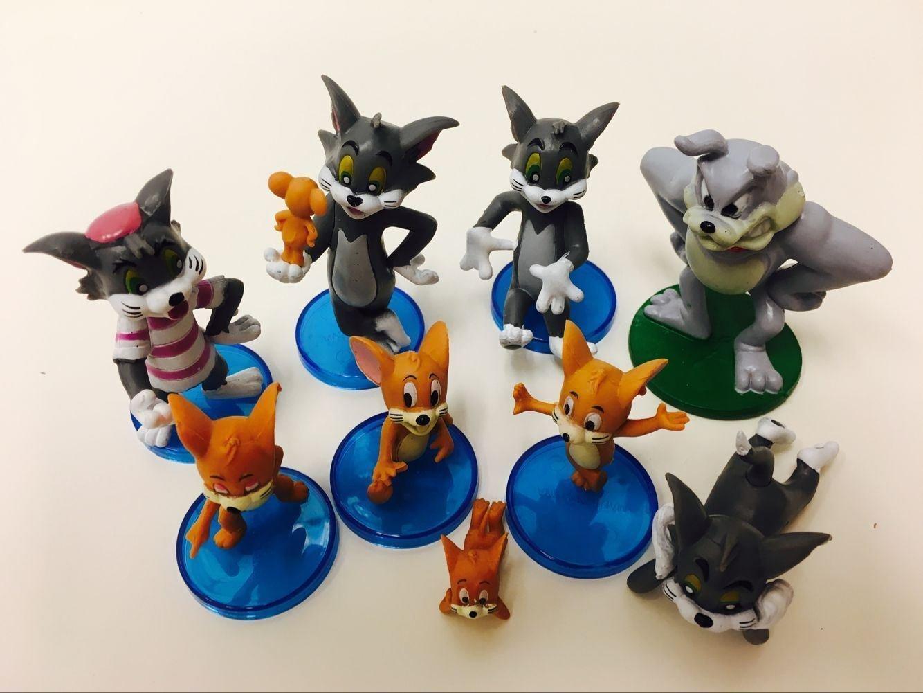 Amazon.com: 9pcs Set Tom y Jerry Mini Figures Cartoon Kids ...