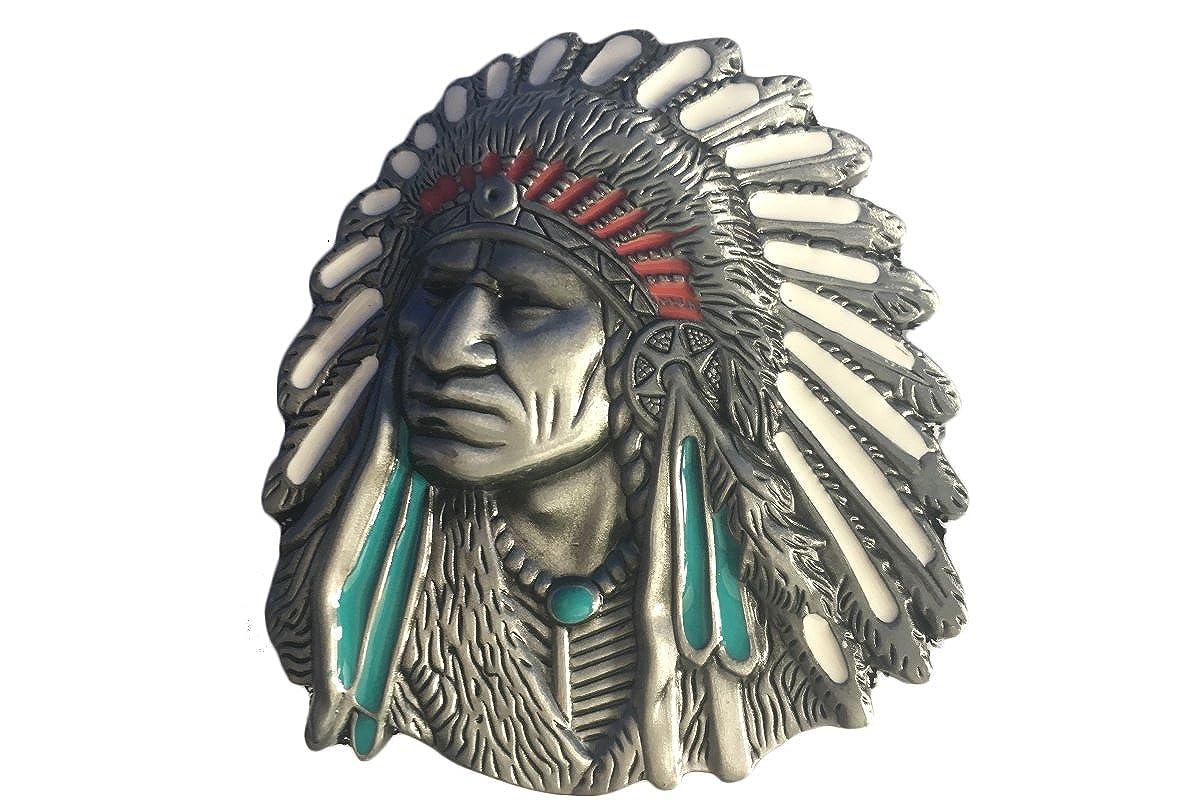 Bai You Mei Native American Indian Warrior Chief Belt Buckle,Western Vintage Handmade Cowboy Buckles