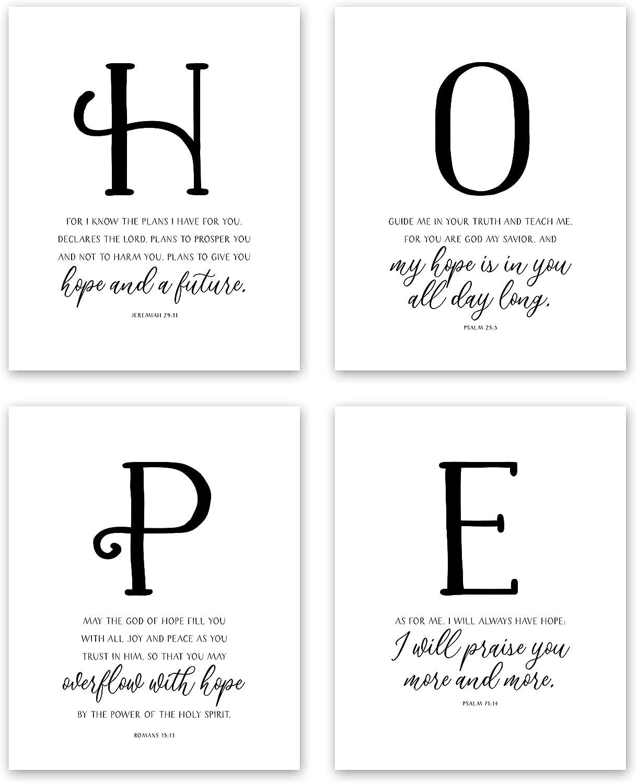 HOPE Wall Decor - Inspirational Scripture Wall Art - Hand Lettering Bible Verses Wall Decor - Christian Wall Decor (4 Piece Wall Art Set: Jeremiah 29 11 Wall Art, Romans 15 13) (8x10 Unframed)