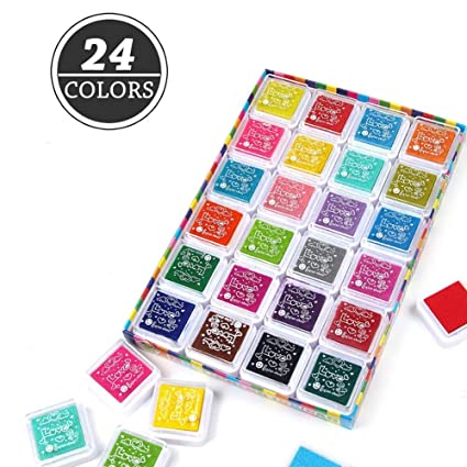 Craft Ink Pad Stamps Ubegood Stamp Pads DIY 24 Colors Rainbow Finger
