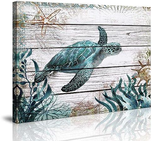 Amazon Com Bathroom Wall Decor Ocean Sea Wall Art Green Turtle
