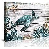 Bathroom Wall Art Ocean Sea Wall Art Green Turtle Pictures Artwork Painting Ocean Decor Canvas Prints Nautical Bathroom…