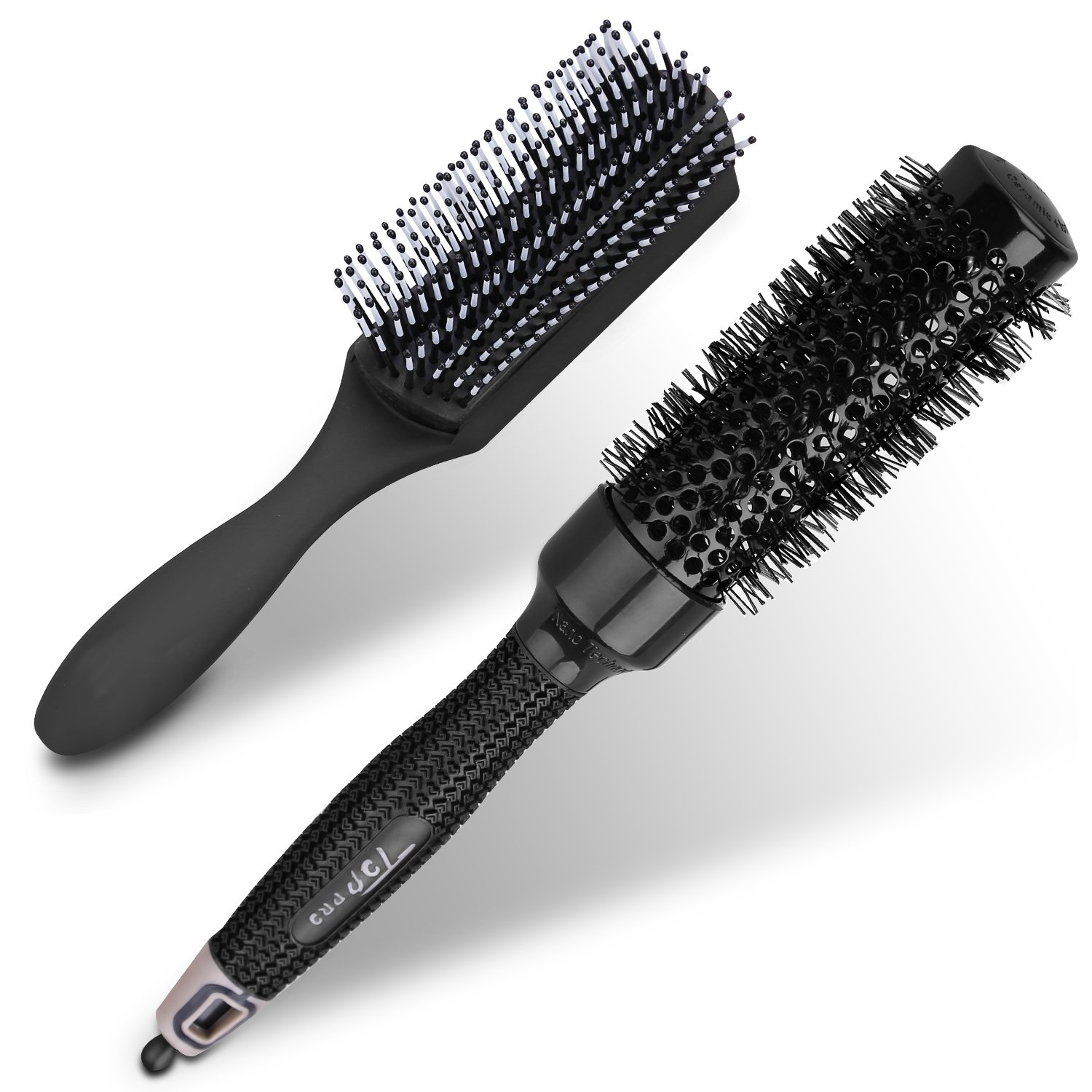 2 Pieces Hair Brush - Thermal Ceramic & Ionic Round Hair Brush - Removable Massage Paddle Wet or Dry Hair Brushes for Women Men Girls and Boys