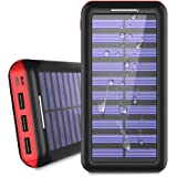 Portable Charger 24000mAh Solar Power Bank, 2 Input & 3 Output USB Phone Charger,ALLSOLAR External Battery Pack, iSmart 2.0 Tech Fast Charging for iPhone,iPad & Samsung Galaxy & More - Red