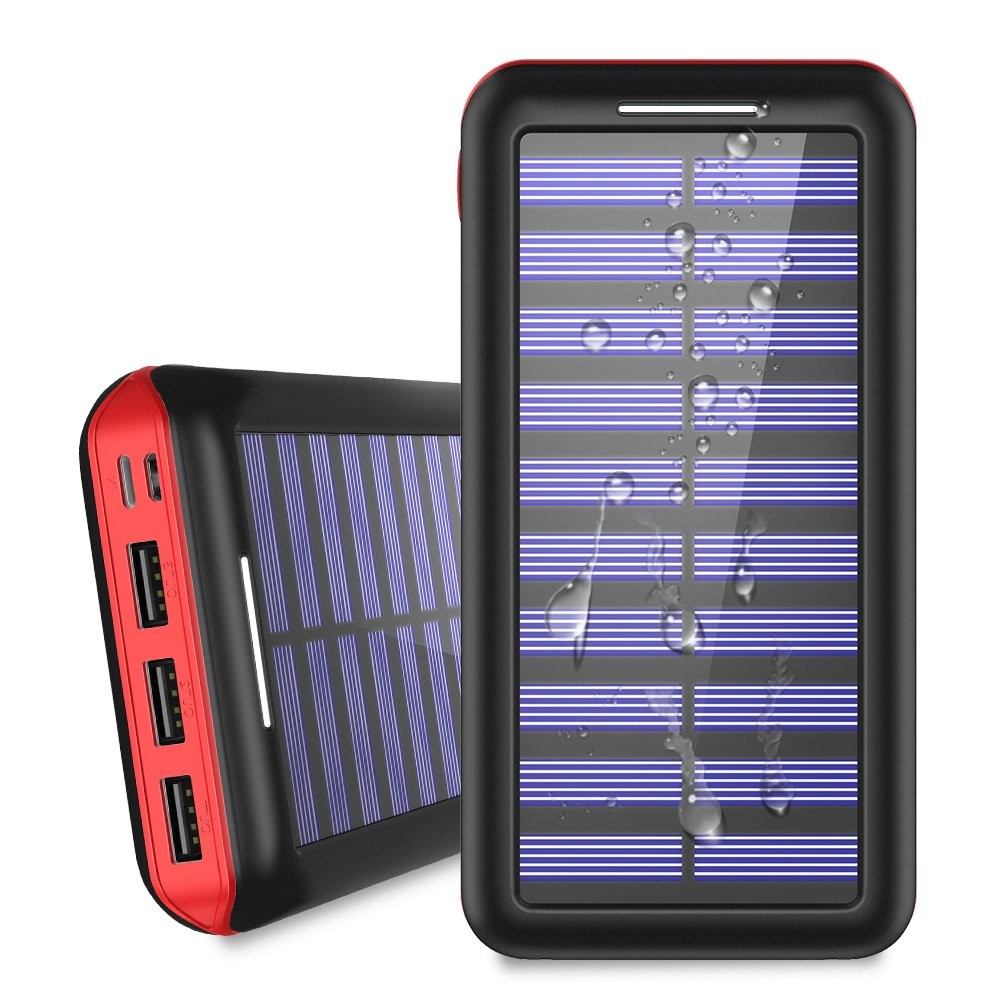 Solar Charger 24000mAh Portable Power Bank, ALLSOLAR External Battery Pack with 2 Input and 3 Output USB, iSmart 2.0 Tech Fast Charging for iPhone,iPad & Samsung Galaxy & More-Red