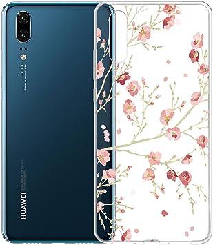 IJIA Funda para Huawei P20 Transparente Rosado Flor del Melocotón ...