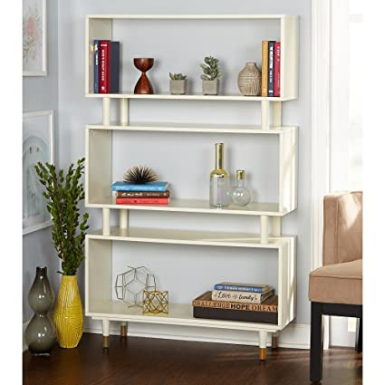 Simple Living Modern Margo Mid Century 3 Shelf Bookshelf Antique White
