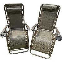 SET OF 2 Garden Sun Lounger Relaxer Recliner Garden Chairs Weatherproof Textoline Folding And Multi Position #With A Headrest