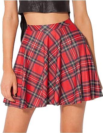 Faldas De Cintura Alta Plisadas A Cuadros Vintage Casual Talla ...