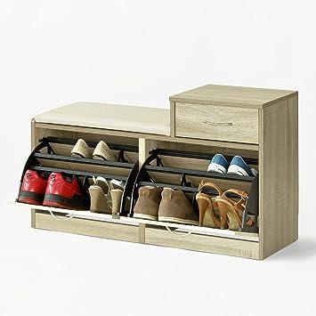 3e034f6a0e3b5f SoBuy® FSR17-N Banc Meuble à Chaussures 2 abattants avec Coussin et 1 tiroir