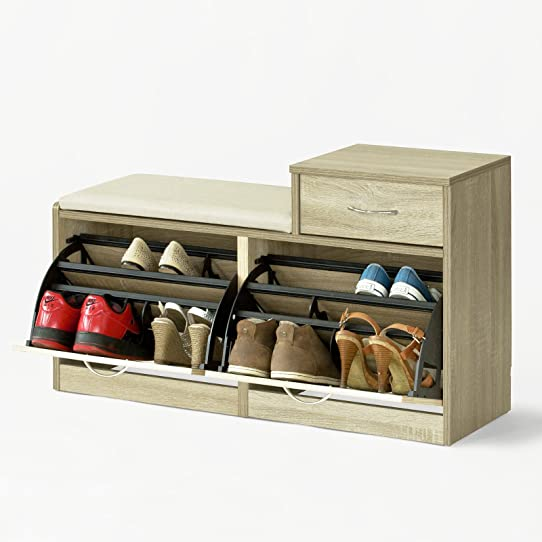 Sobuy® Fsr17-N Banc Meuble À Chaussures 2 Abattants Avec Coussin