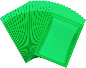 100 Pieces Resealable Smell Proof Bags Foil Pouch Bag Flat Storage Bag for Party Favor Food Storage (Green,3 x 4 Inch)