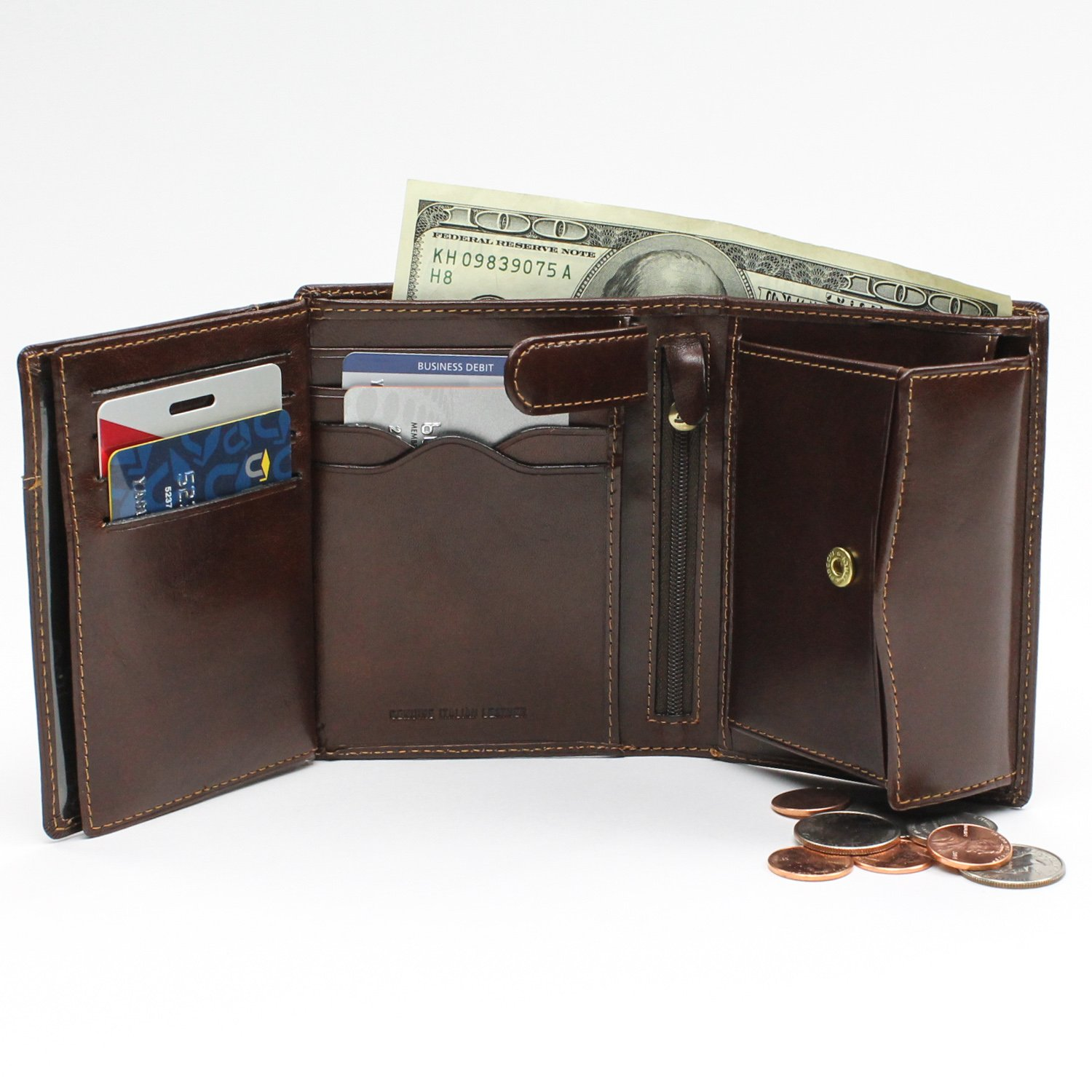 Tony Perotti Italian Leather Trifold Wallet With Id Window and Coin Pouch,cognac Tri-Fold Wallet, Cognac