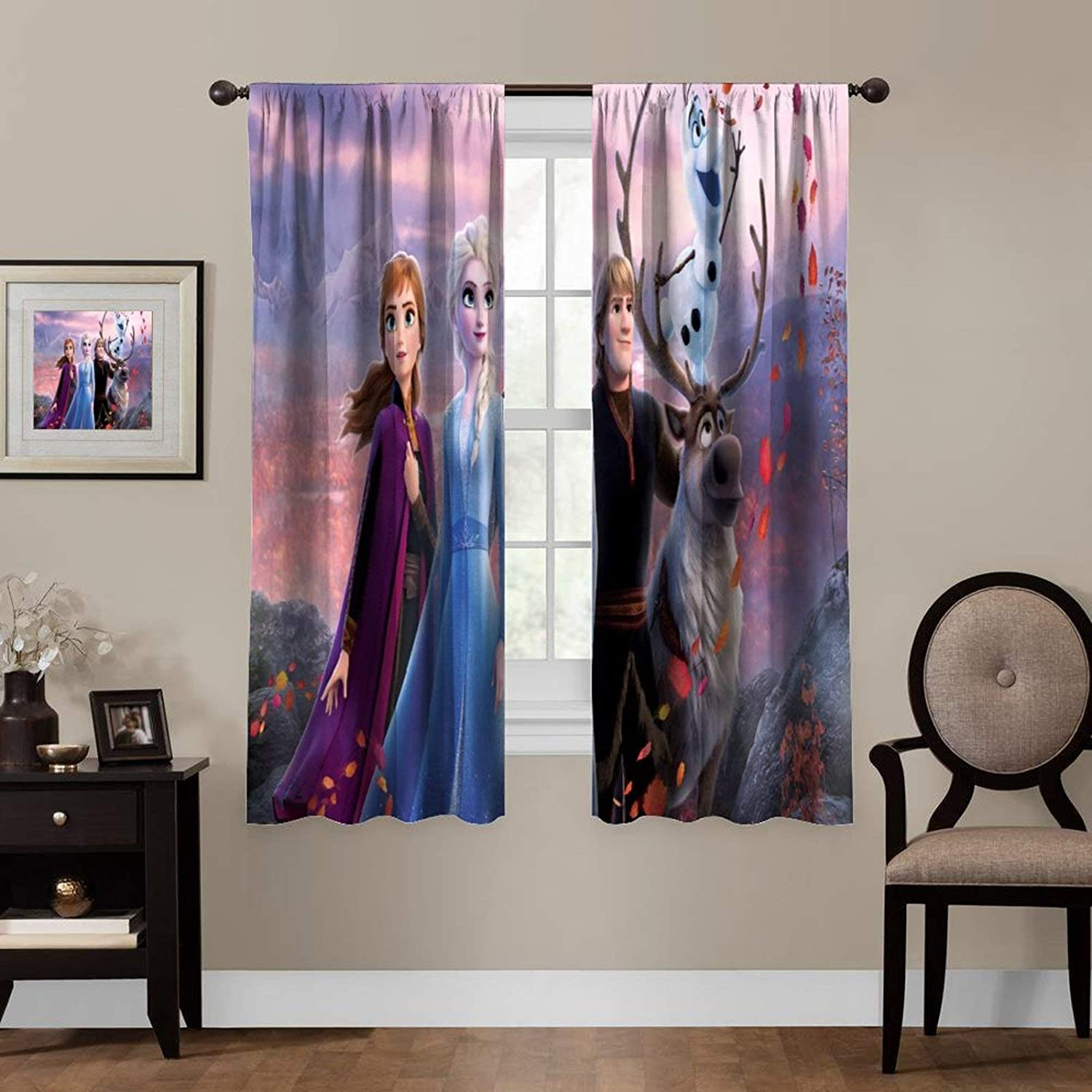 Cartoon Blackout Curtains,Anna Elsa Kristoff Olaf Sven,Room Bedroom Blinds - Solid Thermal Insulated Window Treatment,Soundproof Shade Curtains for boys and girls Room Décor (2 Panels,72x63 inches)