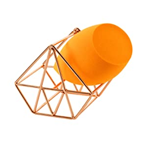 Makeup Sponge Holder Beauty Blender Holder Makeup Organizer for Vanity Makeup Holder Beauty Blender Stand Beauty Vanity Accessories Diamond Shape Stainless Steel Rose Gold Finish 1 Pc (without Sponge)