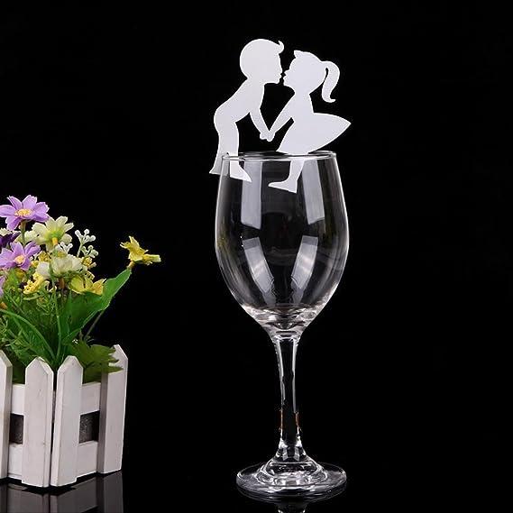 50 pcs Coloque las tarjetas dos personal Enamorada para los vasos de vino,AZX,Tarjeta de Copa para la fiesta,la boda ect,Elegante Decoración Santo para Vaso ...