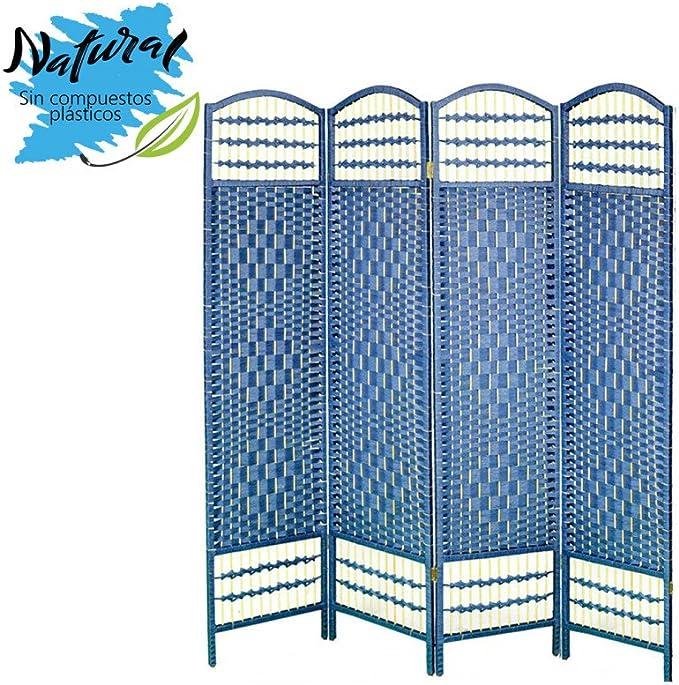 Biombo Azul Plegable Cuatro Puertas Madera Natural para Dormitorio/salón. Edición Natur 170 x 160 cm - Hogar y más: Amazon.es: Hogar