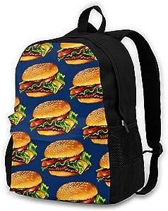 16.5 Lightweight Durable School Bags Bookbag Backpacks For Kids Teen,Cheeseburger 3d Print Food Art College School Book Shoulder Bag Travel Daypack For Boys Girls Man Woman