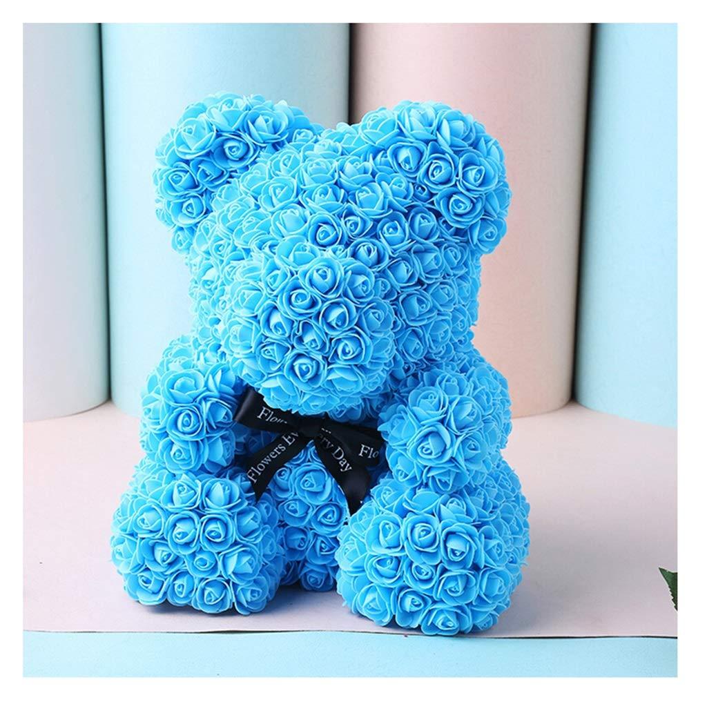THOR-YAN クリスマスギフト永遠の花のガラスカバーローズベアバレンタインデーを送信するガールフレンドの誕生日のギフトローズベアーギフトボックス - ブルーベアの抱擁 - 造花 3265 (Color : D) B07SYNFYRD D