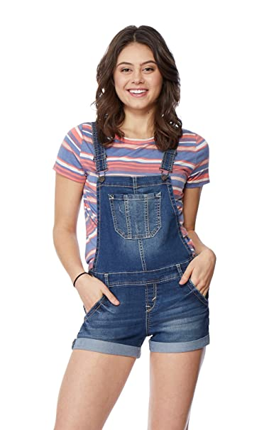 673e5169aee3 Amazon.com  WallFlower Juniors Denim Shortalls in Brandy Size  X ...
